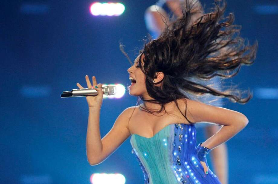 """Safura from Azerbaijan performs the song """"Drip Drop""""  during the second semi-final at the Eurovision Song Contest at the Telenor Arena in Fornebu, Norway, Thursday May 27, 2010. Photo: Cornelius Poppe / Scanpix"""