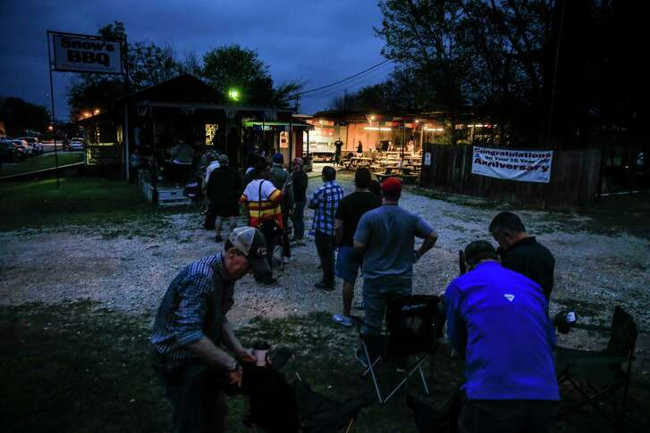 The line forms early at Snow's BBQ, which opens at 8 a.m. every Saturday in Lexington.