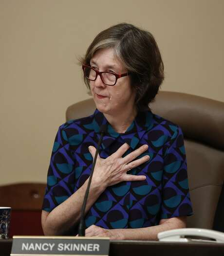 State Sen. Nancy Skinner, D-Berkeley, who represents the neighborhood where last December's Oakland warehouse fire occurred, discusses the tragedy during a hearing of the Senate Governance and Finance Committee, Wednesday, March 15, 2017, in Sacramento, Calif. Lawmakers were exploring issues related to the fire that killed 36 in the so-called Ghost Ship warehouse. The building, not permitted for entertainment or a residence, housed an artists' collective and event space. (AP Photo/Rich Pedroncelli) Photo: Rich Pedroncelli / Associated Press