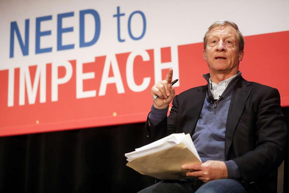 Political activist Tom Steyer speaks during the