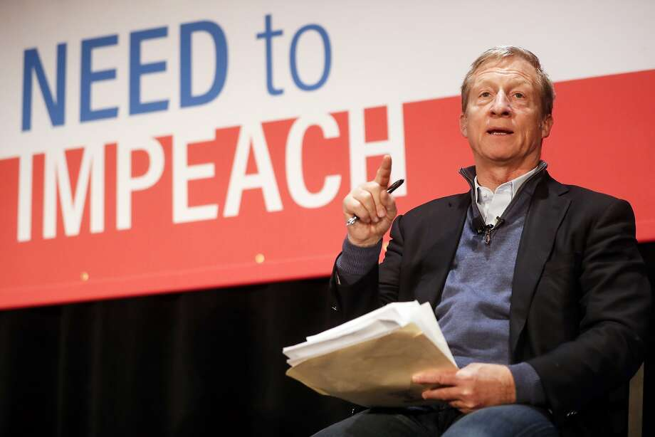 "Political activist Tom Steyer speaks during the ""Need to Impeach"" town hall event at the Clifton Cultural Arts Center, Friday, March 16, 2018, in Cincinnati. Steyer, a billionaire activist also involved in environmental causes, founded the ""Need to Impeach"" petition campaign on claims that President Donald Trump meets the criteria for impeachment. The event kicks-off a national tour in an effort to generate support. (AP Photo/John Minchillo) Photo: John Minchillo, Associated Press"