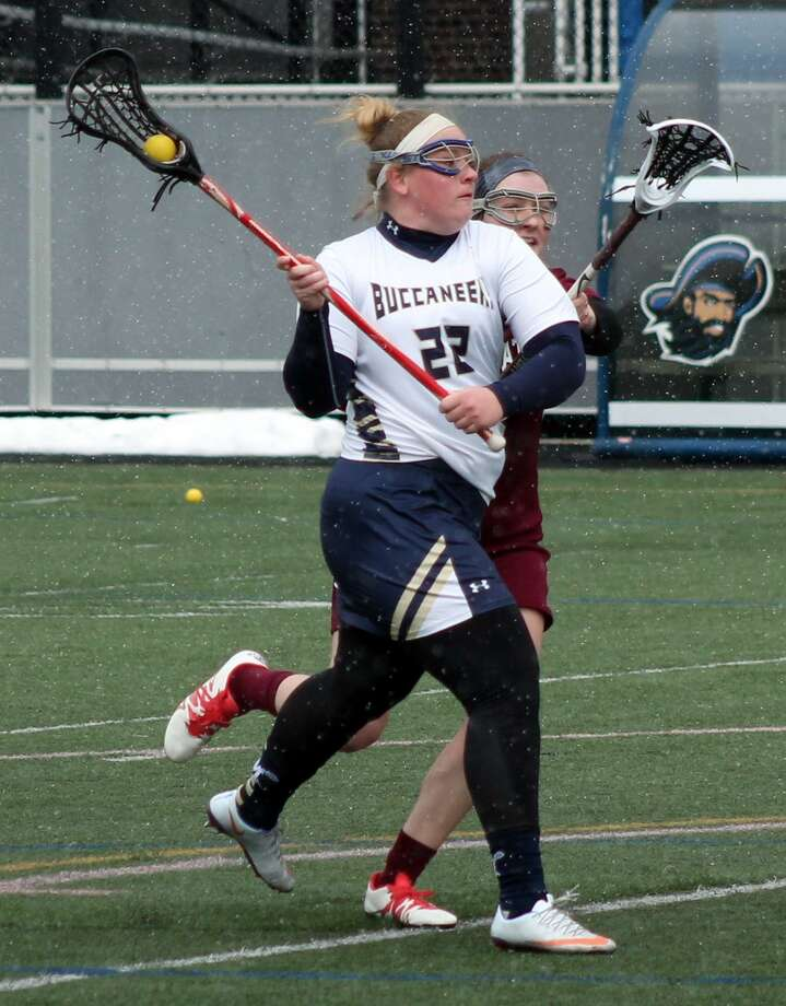 Stephanie Hunt of Brookfield in action for the Massachusetts Maritime Academy women's lacrosse team. Photo: Photo Courtesy Of Justin Reidy / Massachusetts Maritime Academy Athletics
