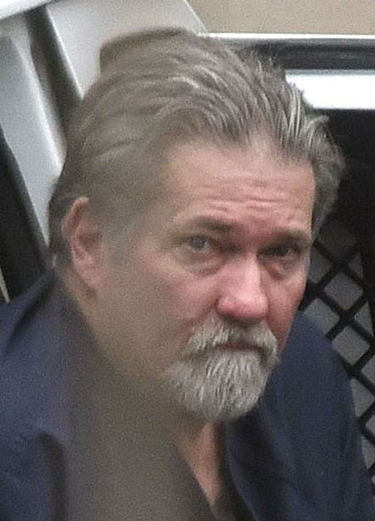 John Xavier Portillo, former national vice president of the Bandidos, arrives at Feb. 27 the San Antonio federal courthouse for the first day of his racketeering trial.