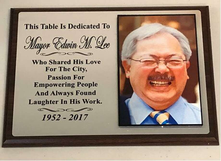 The plaque that hangs above table No. 5 at Sam's Diner on Market Street honoring the late Mayor Ed Lee. Photo: Courtesy San Francisco Mayor's Office