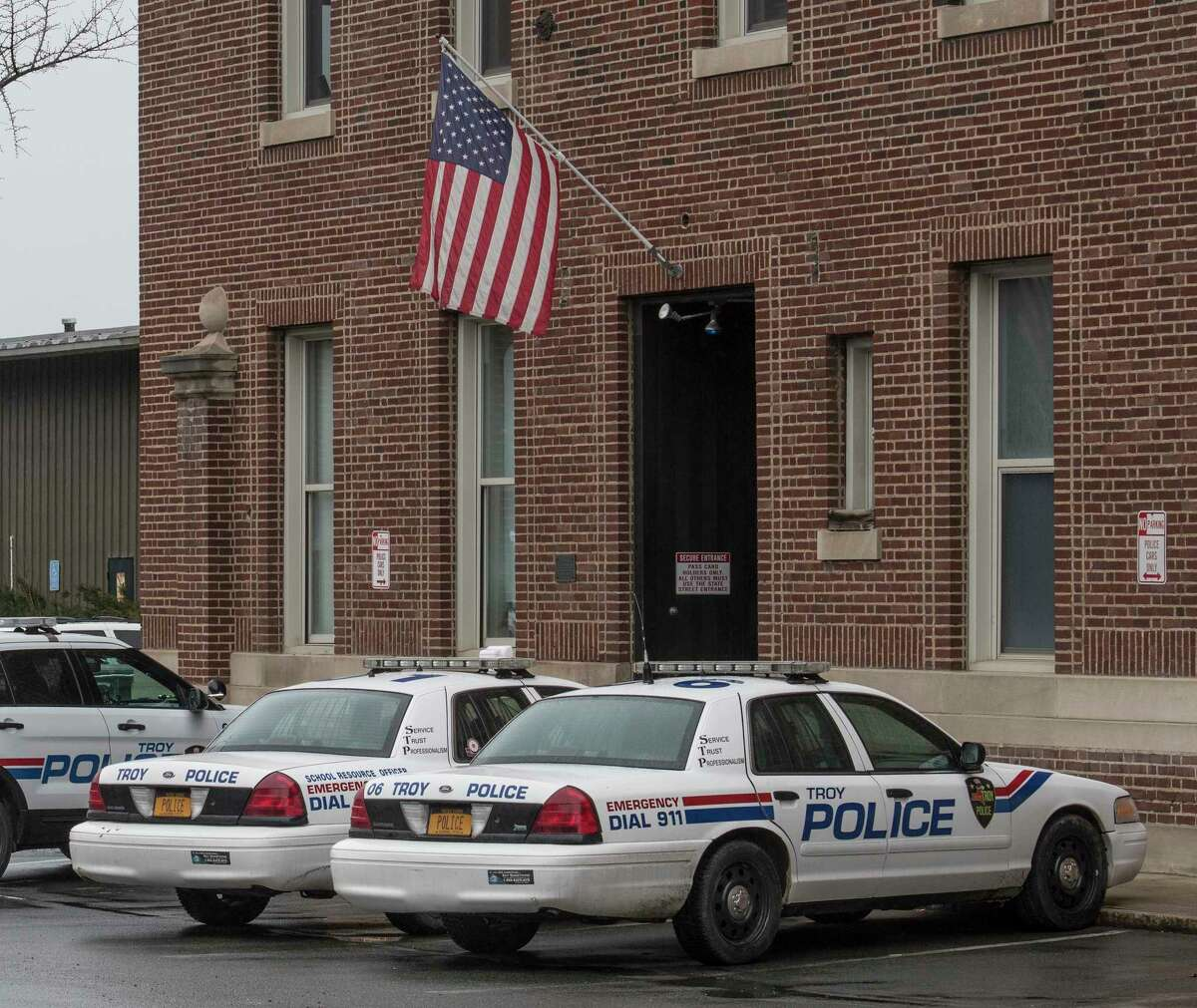 Exterior view of the Troy Police Department on Tuesday, April 3, 2018, in Troy, N.Y. (Skip Dickstein/Times Union)