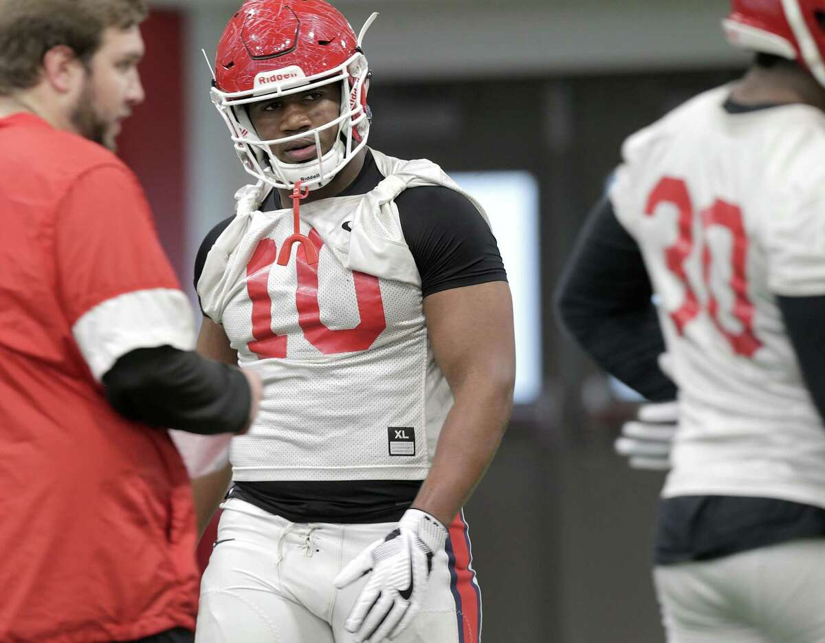 Houston Cougars defensive tackle Ed Oliver (1) practices in the team's new practice facility on Monday, March 5, 2018, in Houston. ( Elizabeth Conley / Houston Chronicle )