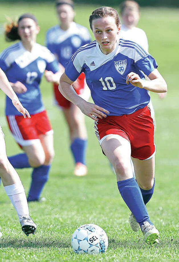 Lexi Egelhoff of Carlinville (10) scored a goal in her team's nonconference victory Friday at Williamsville. The Cavies are 6-1.