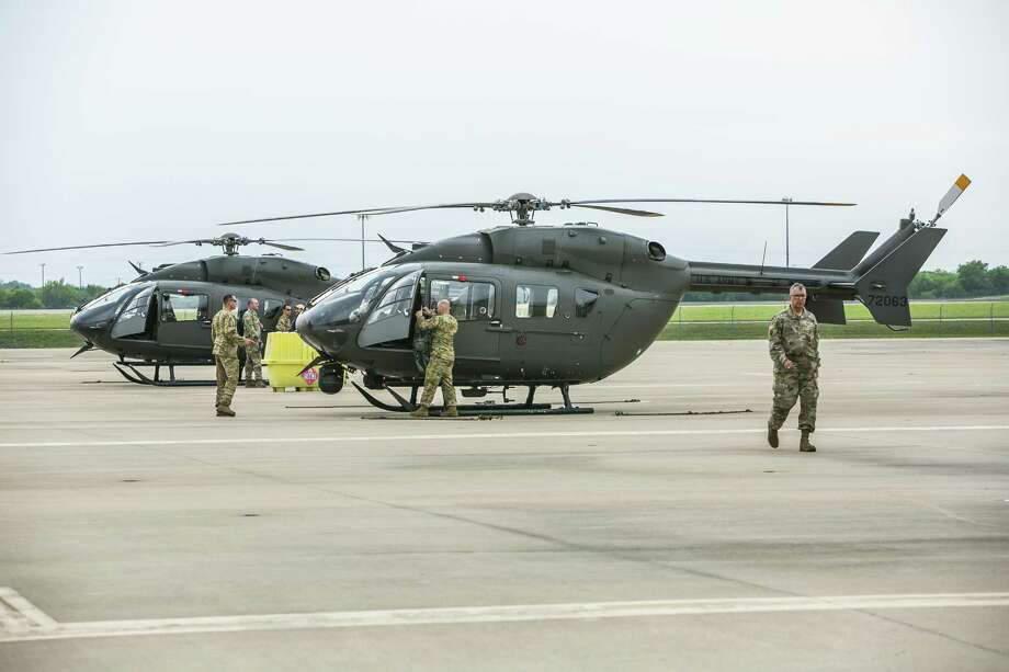 AUSTIN, TX - APRIL 06: Texas National Guard helicopters traveling to the Texas-Mexico border prepare to fly on April 6, 2018 in Austin, Texas. Brigadier General Tracy Norris announced during a press conference that the Texas National Guard will immediately deploy an expected 250 peronnel with supporting aircraft, vehicles and equipment within 72 hours. (Photo by Drew Anthony Smith/Getty Images) Photo: Drew Anthony Smith, Stringer / Getty Images / 2018 Getty Images