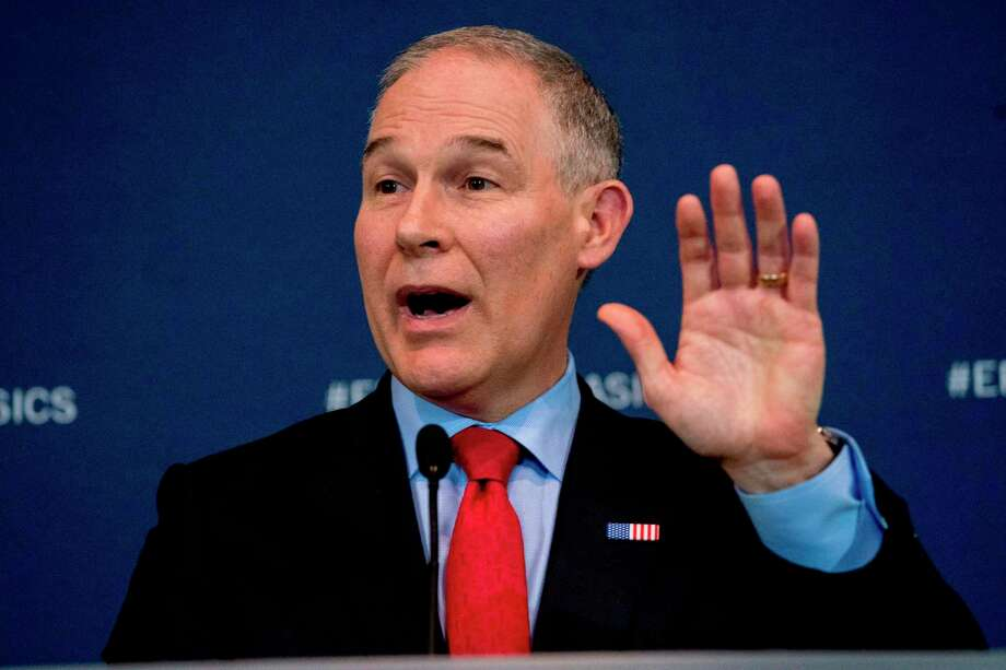 In this April 3, 2018, photo, Environmental Protection Agency Administrator Scott Pruitt speaks at a news conference at the Environmental Protection Agency in Washington. (AP Photo/Andrew Harnik) Photo: Andrew Harnik / Copyright 2018 The Associated Press. All rights reserved.
