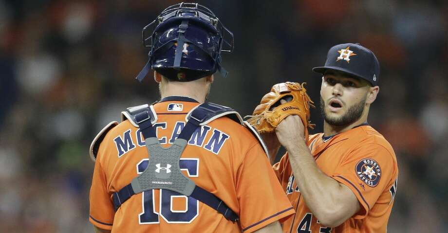 Houston Astros catcher Brian McCann and pitcher Lance McCullers Jr. talk on the mound during the fifth inning against the San Diego Padres of MLB game at Minute Maid Park Friday, April 6, 2018, in Houston. ( Melissa Phillip / Houston Chronicle ) Photo: Melissa Phillip/Houston Chronicle