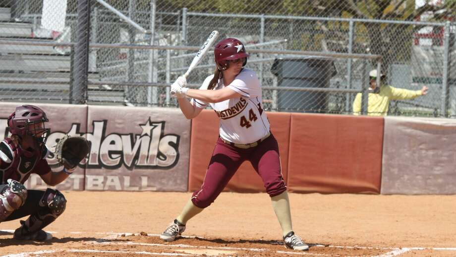 TAMIU right fielder Maddison Schofield hit three home runs Friday including a walk-off in a 3-2 victory in 11 innings over second-place Rogers State. She also had one in a 2-1 win in the doubleheader opener. Photo: Courtesy Of TAMIU Athletics