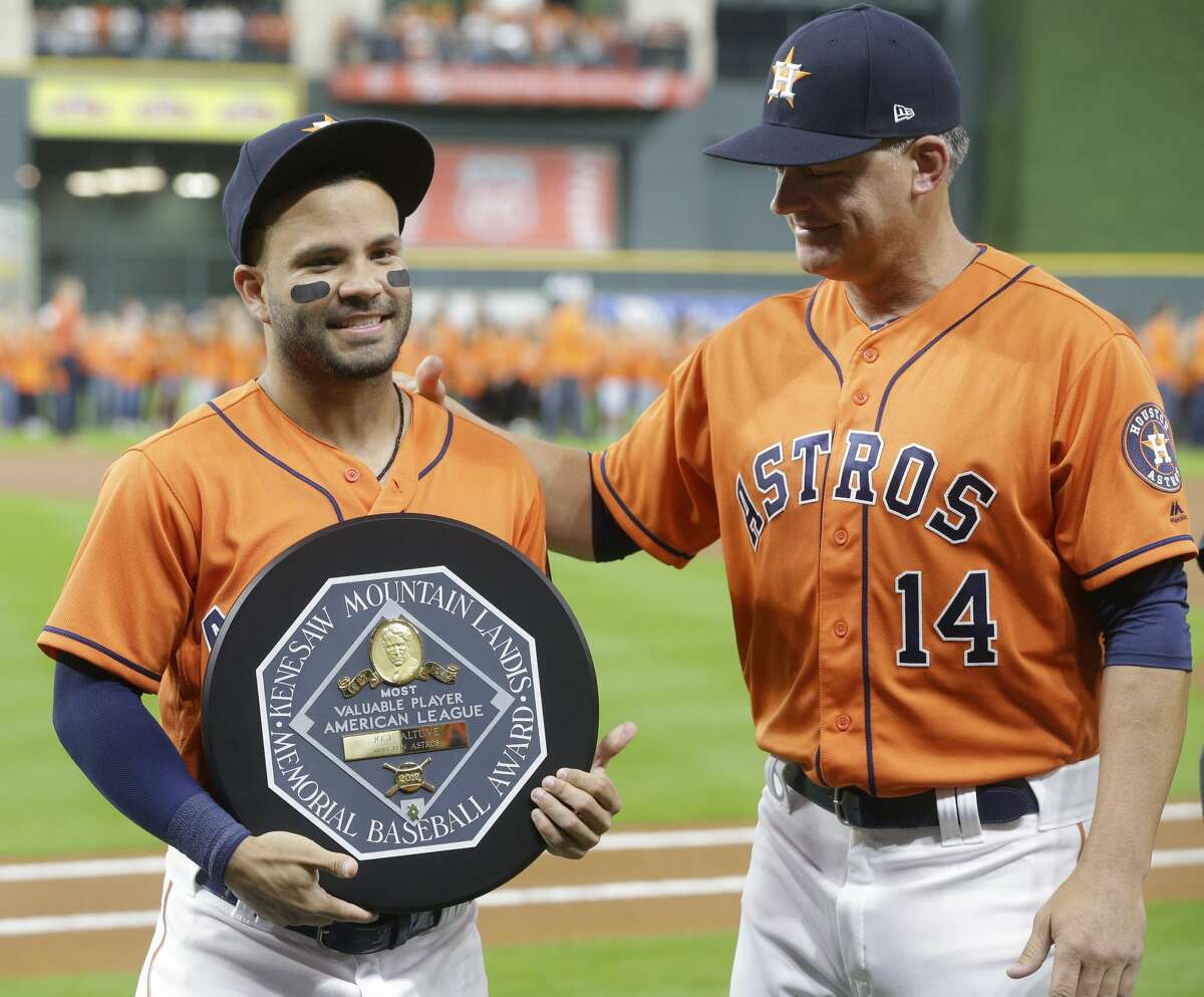 JOSE ALTUVE, ASTROS 2017 American League MVP Beat out the Yankees' Aaron Judge for MVP after leading baseball with a .346 average and the American League with 204 hits all while leading the Astros to their first World Series title.