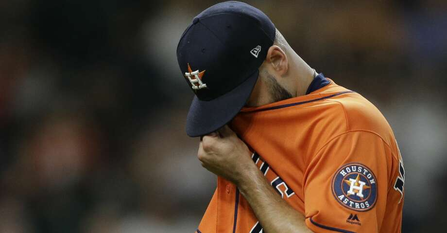 Houston Astros Lance McCullers Jr. walks back to the dugout after pitching against the San Diego Padres during the first inning of MLB game at Minute Maid Park Friday, April 6, 2018, in Houston. ( Melissa Phillip / Houston Chronicle ) Photo: Melissa Phillip/Houston Chronicle