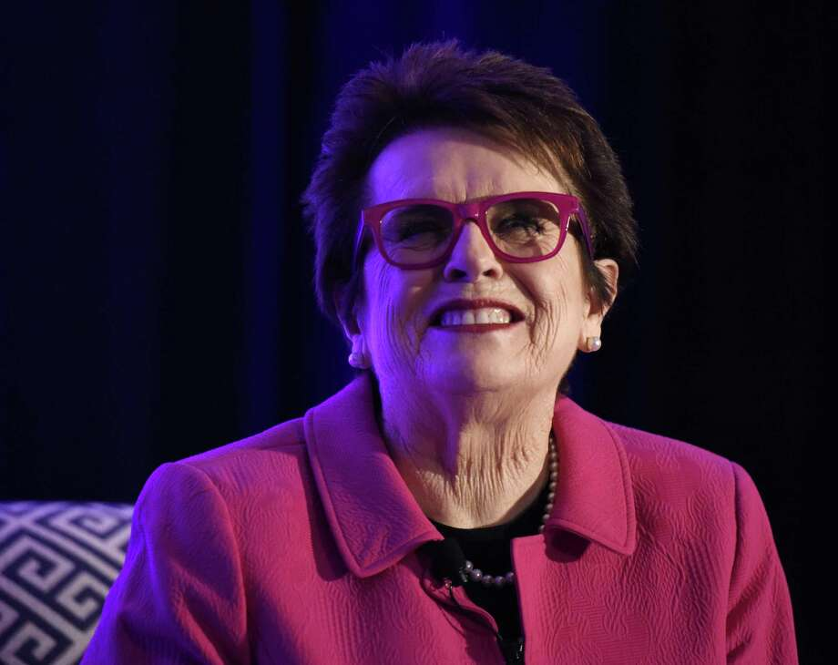 "Billie Jean King speaks during Fairfield County's Community Foundation's Fund for Women & Girls ""Courage to Create Change"" annual luncheon at the Hyatt Regency in Old Greenwich, Thursday. Photo: Tyler Sizemore / Hearst Connecticut Media / Greenwich Time"