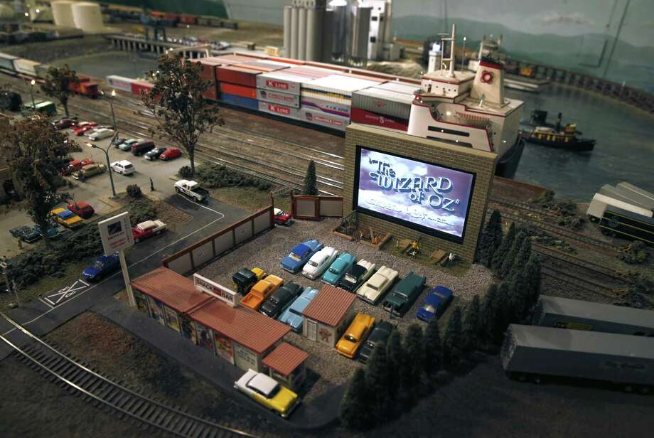 An HO scale drive-in theater is one of the featured attractions at the Napa Valley Model Railroad Historical Society in Napa. Photo: Paul Chinn / The Chronicle / ONLINE_YES