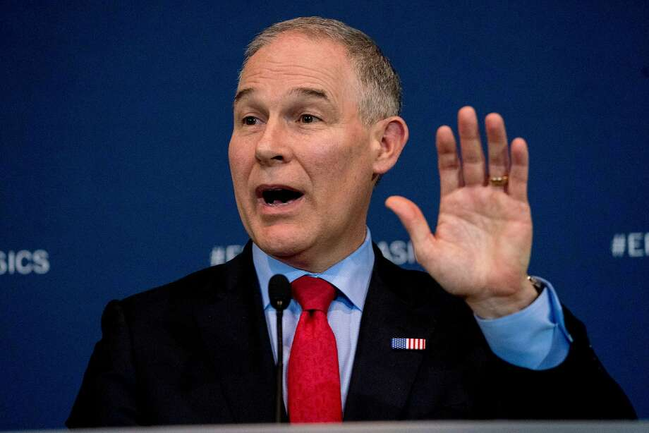 In this April 3, 2018, photo, Environmental Protection Agency Administrator Scott Pruitt speaks at a news conference at the Environmental Protection Agency in Washington. (AP Photo/Andrew Harnik) Photo: Andrew Harnik, Associated Press