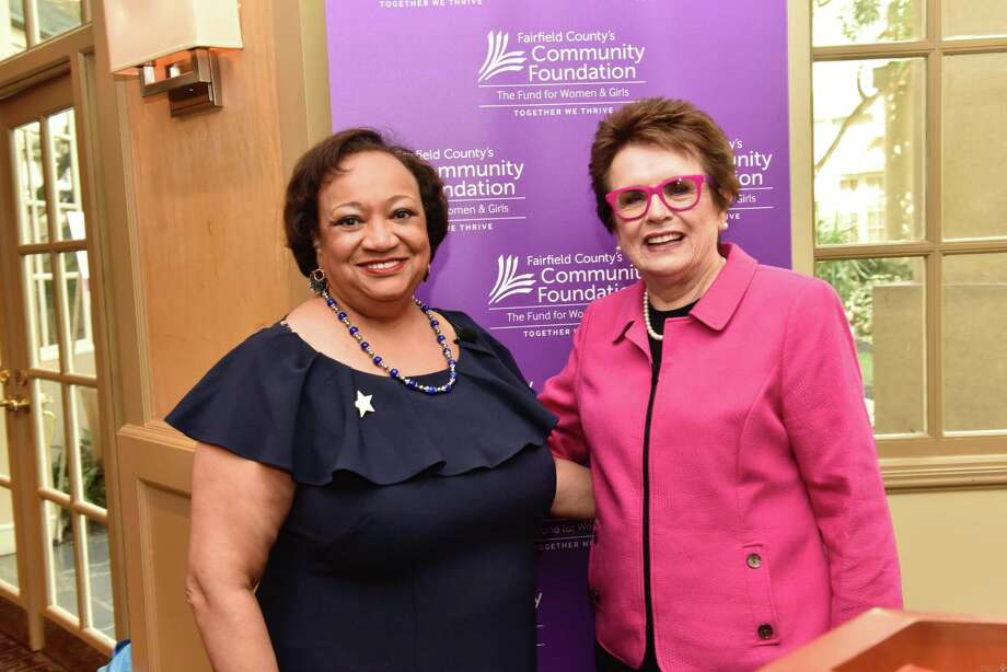 Juanita James, CEO and president of Fairfield County's Community Foundation, with the legendary Billie Jean King at the foundation's Fund for Women & Girls 20th Anniversary Celebration and Annual Luncheon at the Hyatt Regency Greenwich. Photo: Marilyn Roos Photography