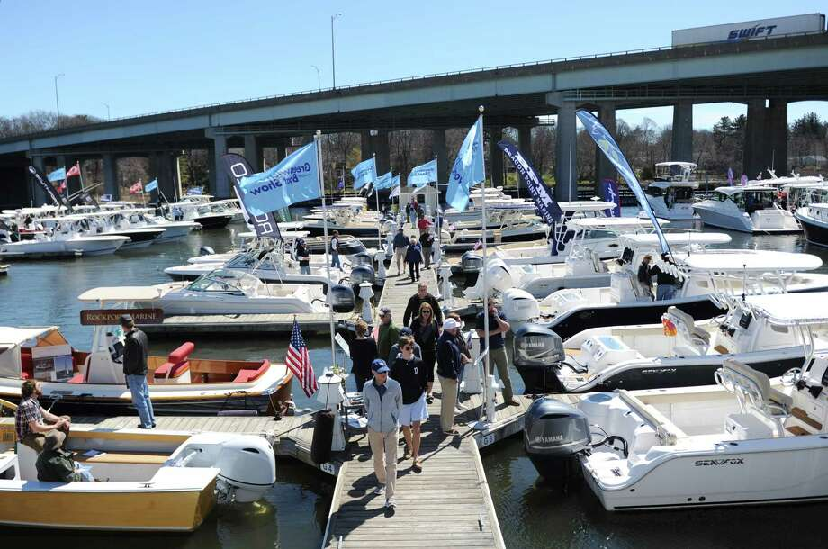 The Greenwich Boat Show will continues Sunday at the Greenwich Water Club along Cos Cob Harbor. Photo: Tyler Sizemore / Hearst Connecticut Media / Greenwich Time
