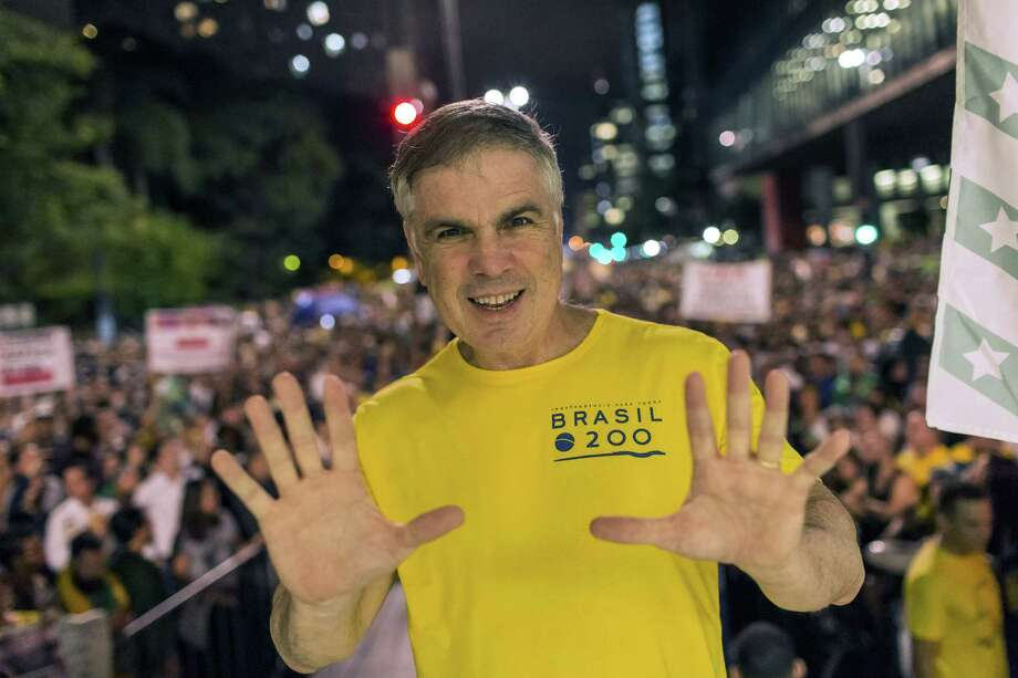 Flavio Rocha, presidential candidate for the Brazilian Republican Party (PRB), attends a protest supporting the imprisonment of former President Luiz Inacio Lula da Silva in Sao Paulo on April 3, 2018. Photo: Bloomberg Photo By Rodrigo Capote. / © 2018 Bloomberg Finance LP