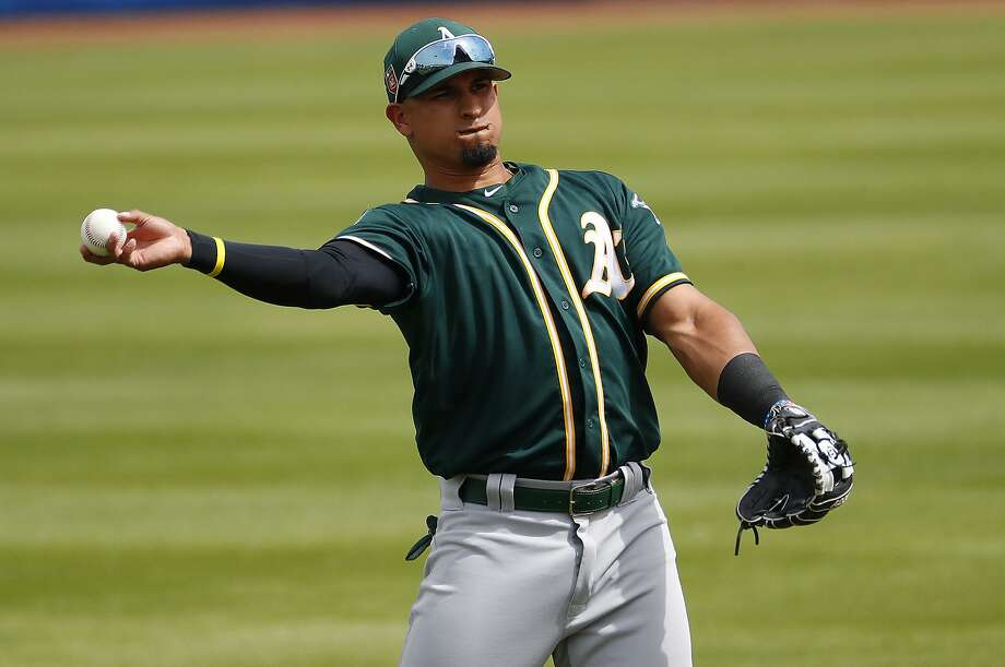 Oakland Athletics' Franklin Barreto throws against the Milwaukee Brewers during the second inning of a spring training baseball game Wednesday, March 21, 2018, in Phoenix. (AP Photo/Matt York) Photo: Matt York / Associated Press