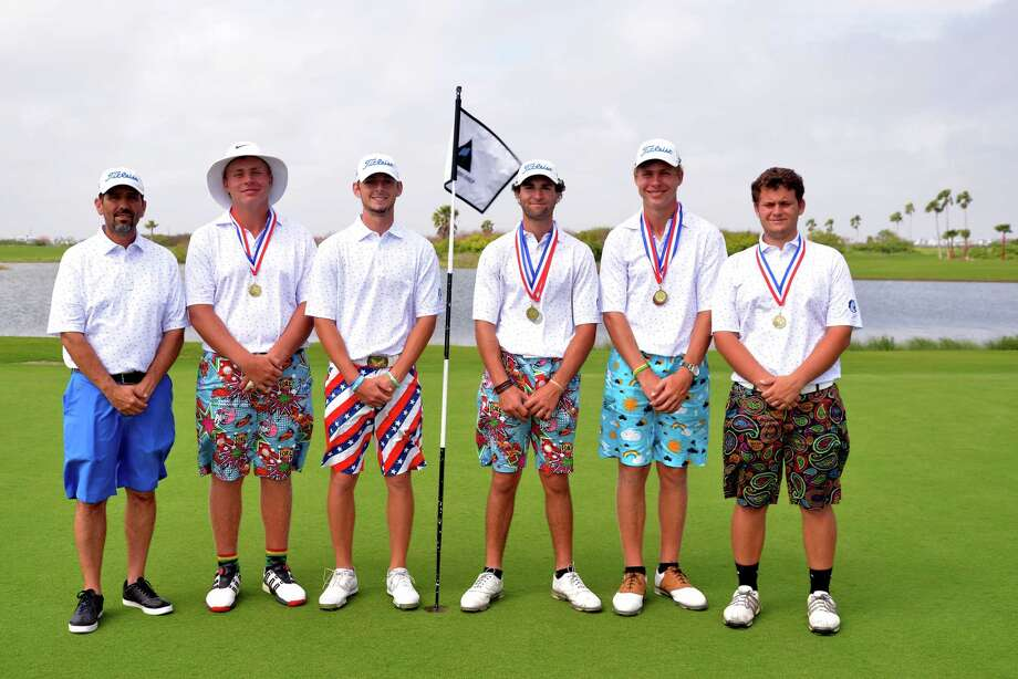 The record-setting Clear Springs golf team, eyeing its third straight trip to state, consists of (left to right) head coach Troy Frederick, Andre Jacobs, Alex Welch, Niko Nebout, Francois Jacobs and Jacob Hern. Photo: Submitted Photo / David Leung Photography