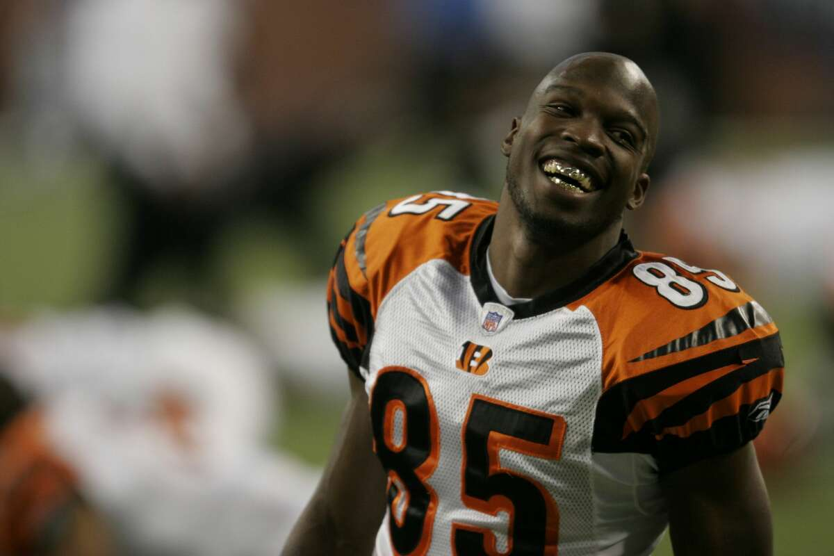 DETROIT - DECEMBER 18: Chad Johnson #85 of the Cincinnati Bengals jokes with a teammate during warmups against the Detroit Lions at an NFL game at Ford Field on December 18, 2005 in Detroit, Michigan. The Bengals won the game, 41-17, clinching the AFC North Championship. (Photo by Tom Pidgeon/Getty Images)