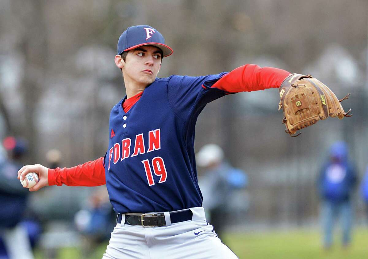 John Shannon pitches for Foran during the high school baseball game between Stamford High School and Foran High School at Stamford High School, Conn., Saturday, April 7, 2018. Foran won the game 8-5 over Stamford.