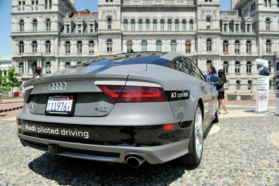 A view of the Audi A7 piloted driving prototype vehicle on Monday, May 23, 2016, in Albany, N.Y. Employees of the auto maker were outside the Capitol to talk with legislators about the driverless car. The State Senate is scheduled to vote on a bill that would advance self-driving technologies in New York State. (Paul Buckowski / Times Union)