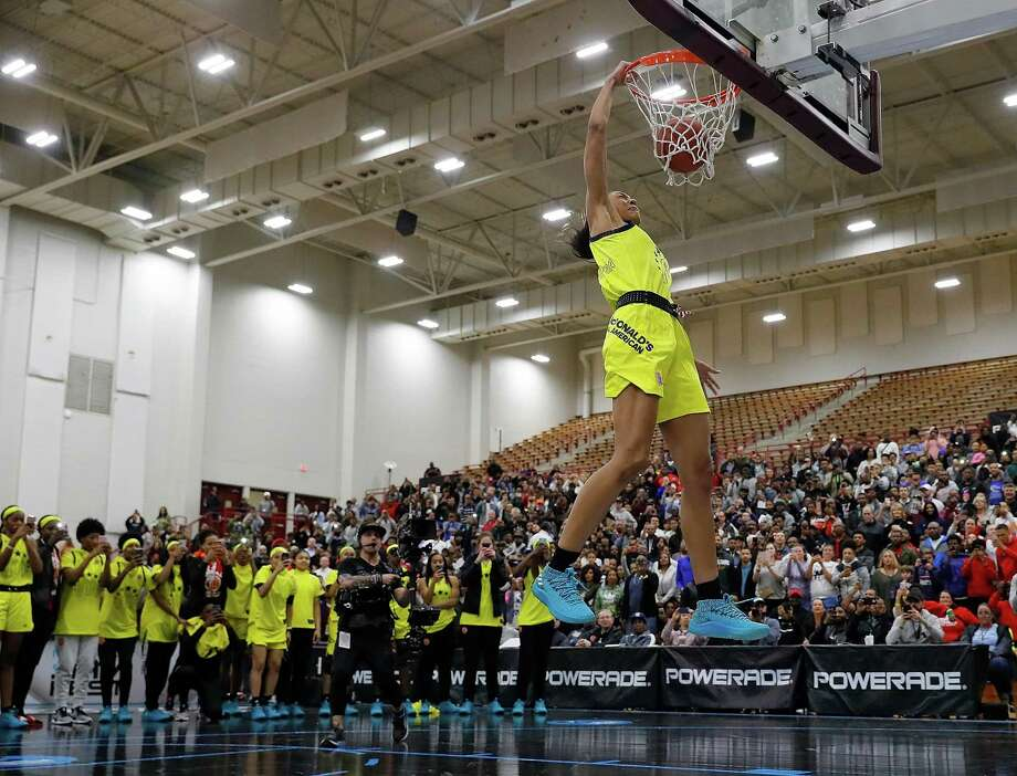 UConn commit Olivia Nelson-Ododa dunks during the 2018 McDonald's All-American game on March 26 in Atlanta, Georgia. Photo: Kevin C. Cox / Getty Images / 2018 Getty Images