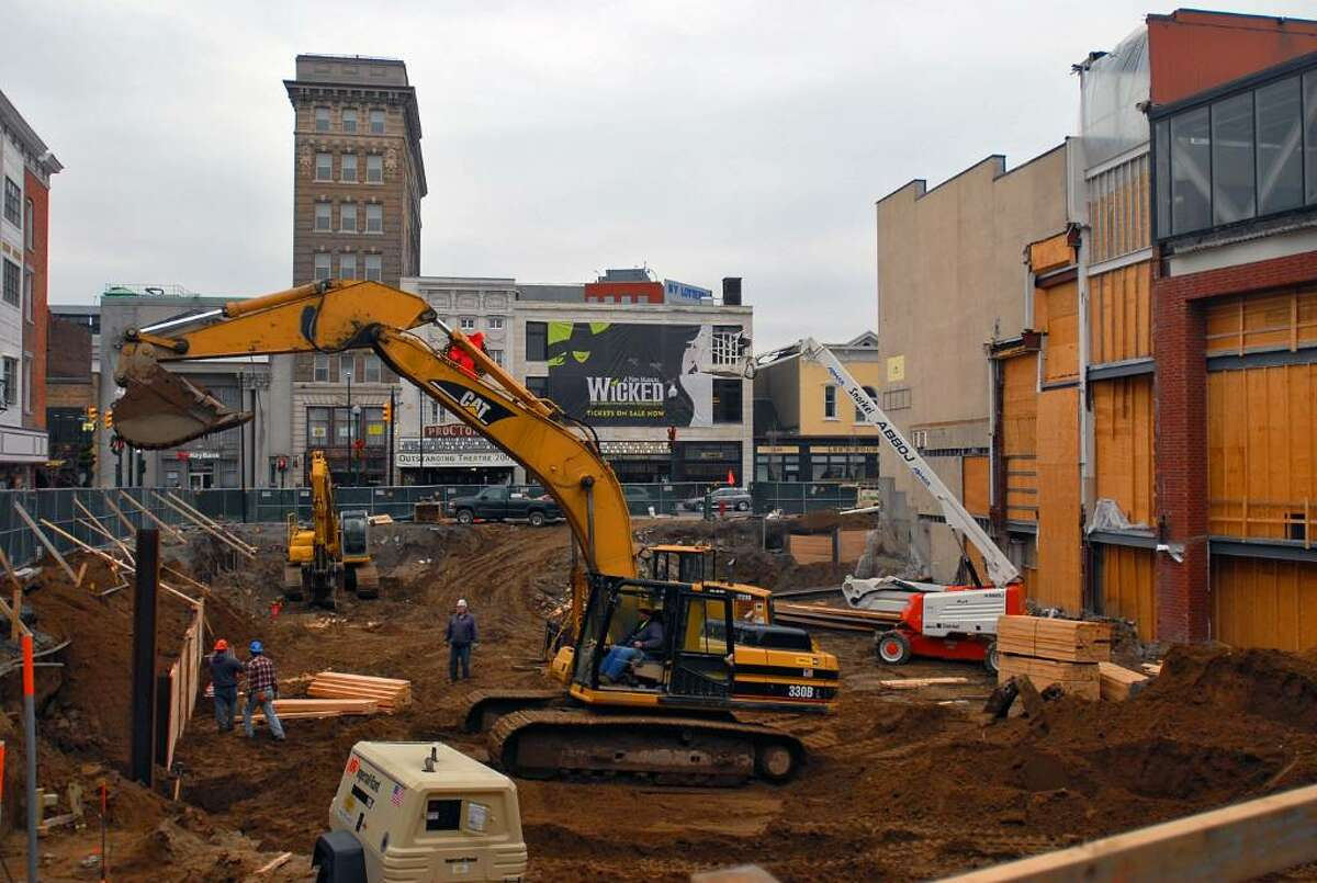 Construction workers are shown on the site of the Center City complex in Schenectady, NY, on Monday November 23, 2009. (Philip Kamrass / Times Union)