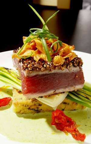 Seared tuna on a quinoa cake at the Hollywood Brown Derby in Albany.