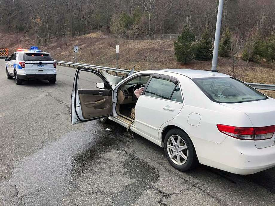One person was taken to the hospital after a crash Saturday afternoon at the end of Route 7 on April 7, 2018. Photo: Contributed Photo / Brookfield Volunteer Fire Department / Contributed Photo / Connecticut Post Contributed