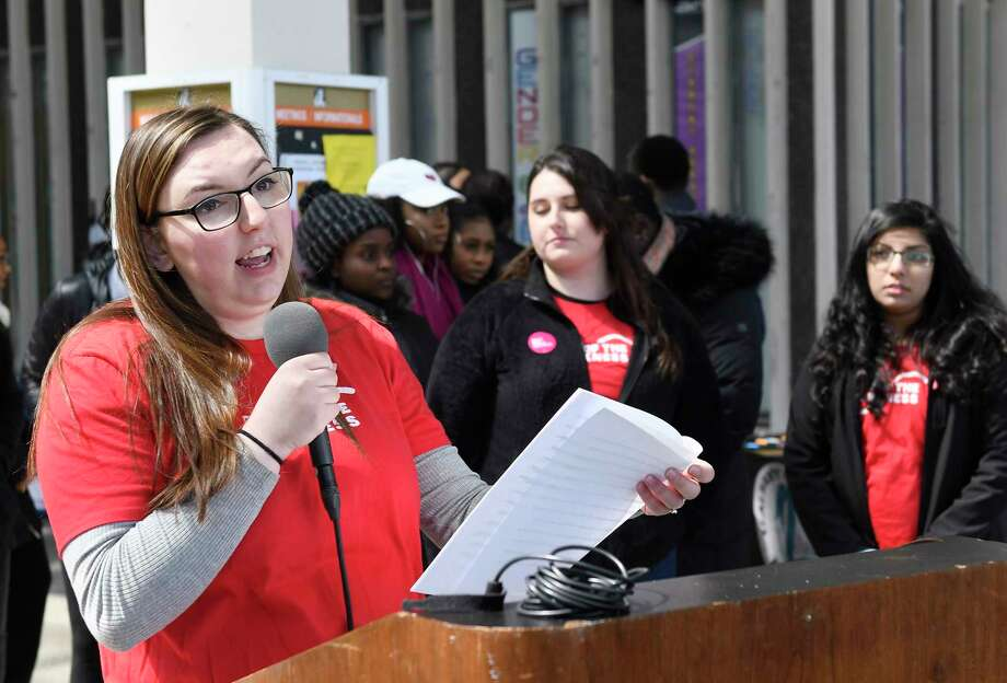 "University at Albany senior Jessica Simon of Chester, N.Y., speaks to students and community residents during the ""Out of the Darkness Campus Walk"" suicide prevention and awareness program at the University at Albany campus Saturday, April , 2018, in Albany, N.Y. (Hans Pennink / Special to the Times Union) Photo: Hans Pennink / Hans Pennink"