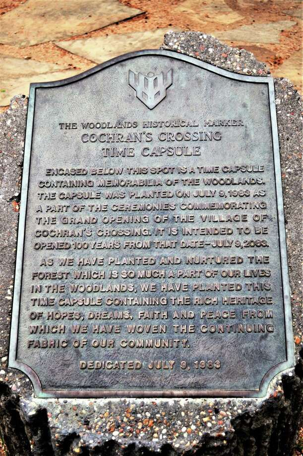 This marker represents where the Cochran's Crossing time capsule is buried. The time capsule is slated to be opened in 2083. The Village of Cochran's Crossing was the third of what would become nine villages in The Woodlands Township. Photo: Courtesy Photo