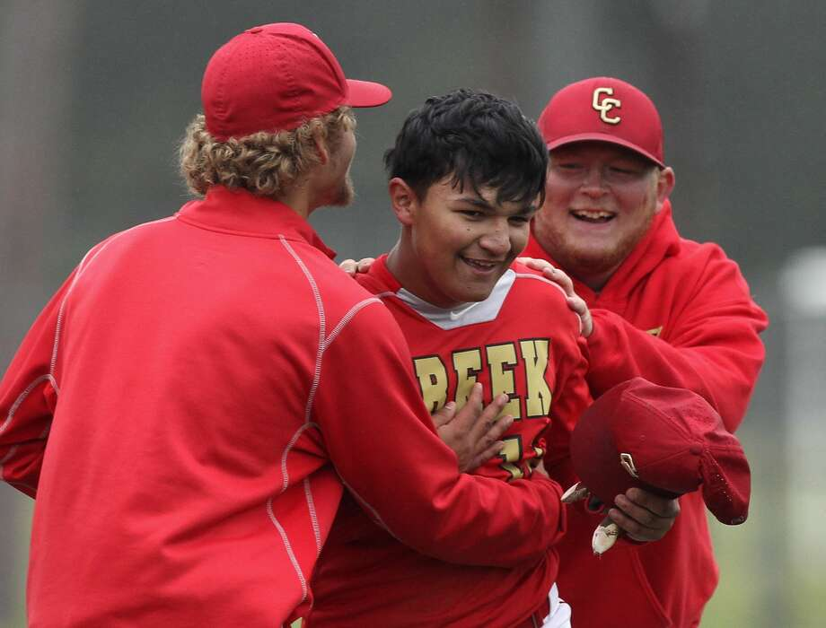 Caney Creek's Alejandro Molina is seen after hitting a walk-off single to give the Panthers a 3-2 win over Crosby during a District 21-5A baseball game at Caney Creek High School, Saturday, April 7, 2018, in Conroe. Photo: Jason Fochtman/Houston Chronicle