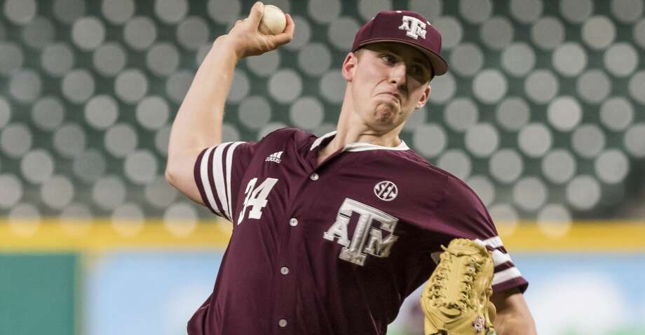 Mitchell Kilkenny (7-0) tossed an efficient 107 pitches and allowed five hits while striking out four and walking one in the complete outing for the Aggies. Photo: Joe Buvid/For The Houston Chronicle