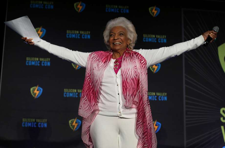 Actress Nichelle Nichols, who portrayed Lt. Uhura in the original Star Trek series, receives a warm welcome from the audience before introducing NASA astronaut Dr. Mae Jemison at the Silicon Valley Comic Con in San Jose, Calif. on Saturday, April 7, 2018. Photo: Paul Chinn / The Chronicle