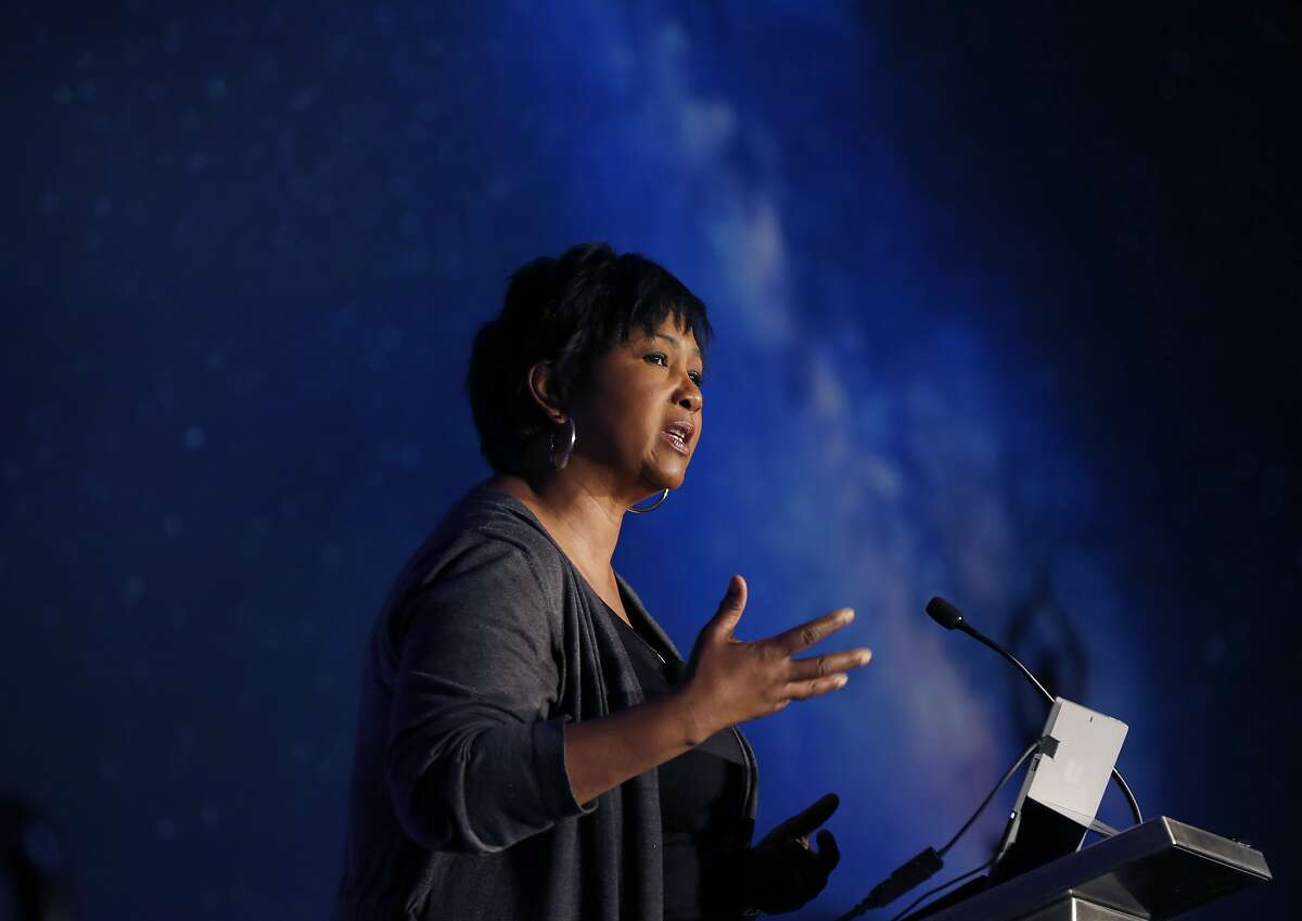 NASA astrounaut Dr. Mae Jemison delivers a keynote speech at the Silicon Valley Comic Con in San Jose, Calif. on Saturday, April 7, 2018.
