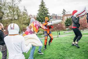Seattle's International Pillow Fight at Cal Anderson Park on Saturday, April 7, 2018.