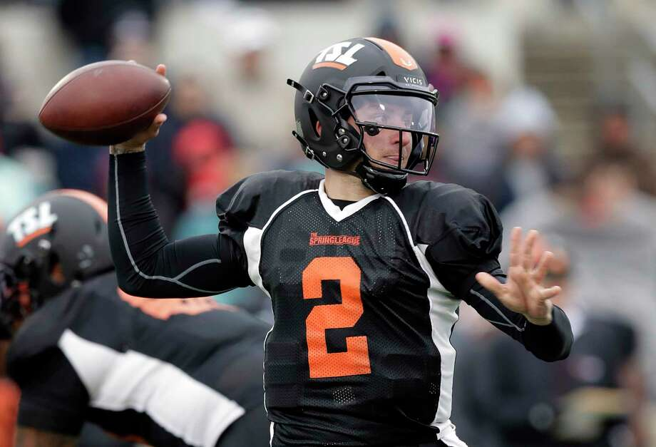 Former Heisman Trophy-winning quarterback Johnny Manziel (2) looks to throw during a developmental Spring League football game, Saturday, April 7, 2018, in Austin, Texas. Manziel is hoping to impress NFL scouts in his bid to return to the league. (AP Photo/Eric Gay) Browse through the photos for a look at Johnny Manziel in his first game in more than two years. Photo: Eric Gay, Associated Press / Copyright 2018 The Associated Press. All rights reserved.