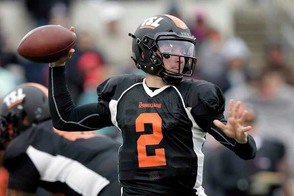 Former Heisman Trophy-winning quarterback Johnny Manziel (2) looks to throw during a developmental Spring League football game, Saturday, April 7, 2018, in Austin, Texas. Manziel is hoping to impress NFL scouts in his bid to return to the league. (AP Photo/Eric Gay)