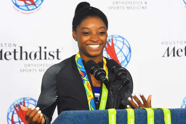 U.S. Olympic gymnast and Spring resident Simone Biles is hard at work on improving her routines in time for a return to competition this summer.