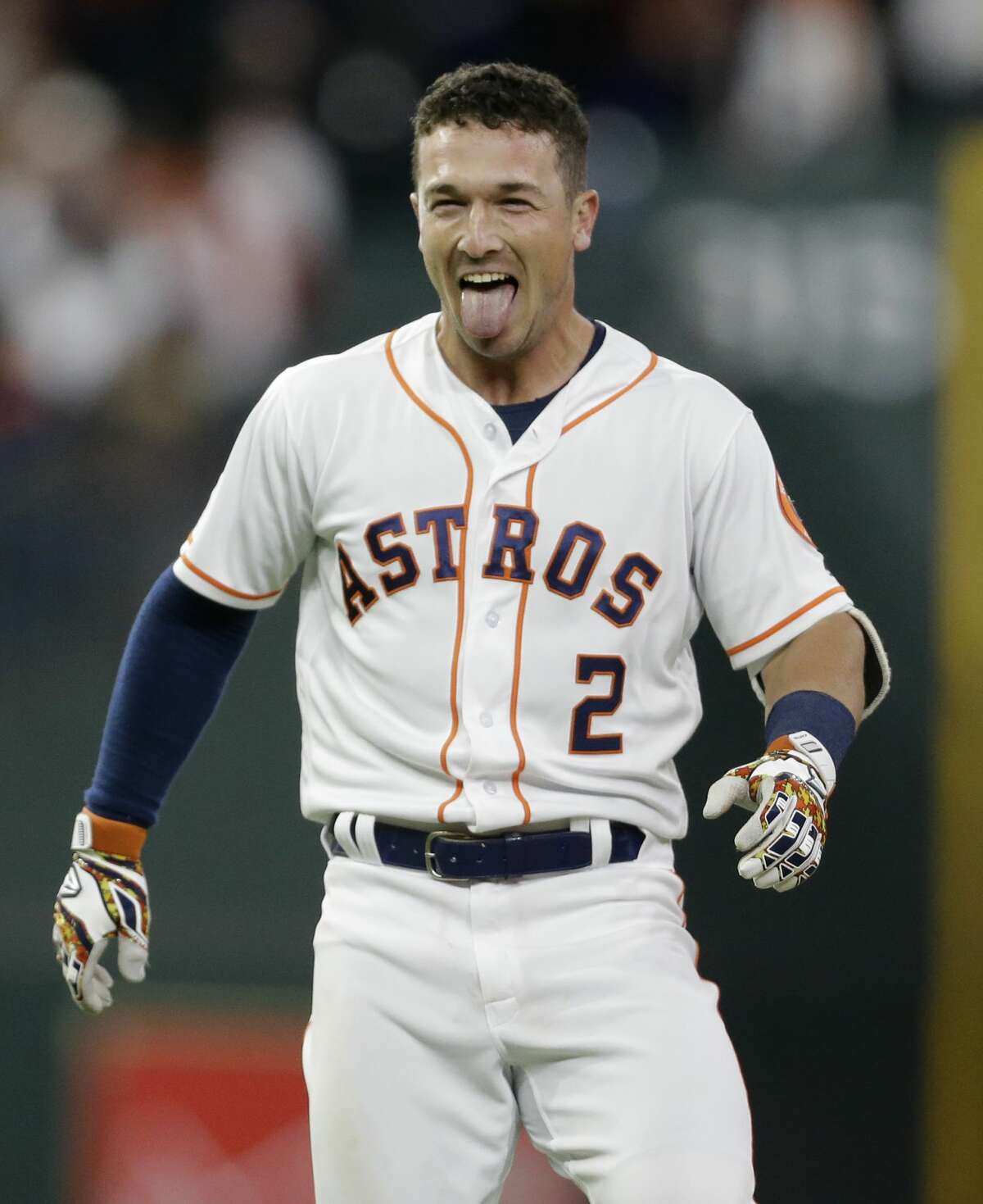 Houston Astros Alex Bregman celebrate hit single hit during the tenth inning to win over the San Diego Padres at Minute Maid Park Saturday, April 7, 2018, in Houston. ( Melissa Phillip / Houston Chronicle )