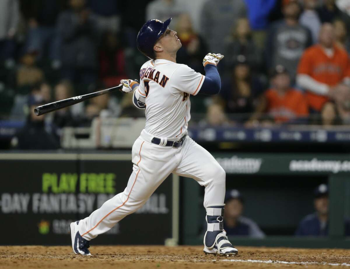 Houston Astros Alex Bregman hits a single during the tenth inning to win over the San Diego Padres at Minute Maid Park Saturday, April 7, 2018, in Houston. ( Melissa Phillip / Houston Chronicle )