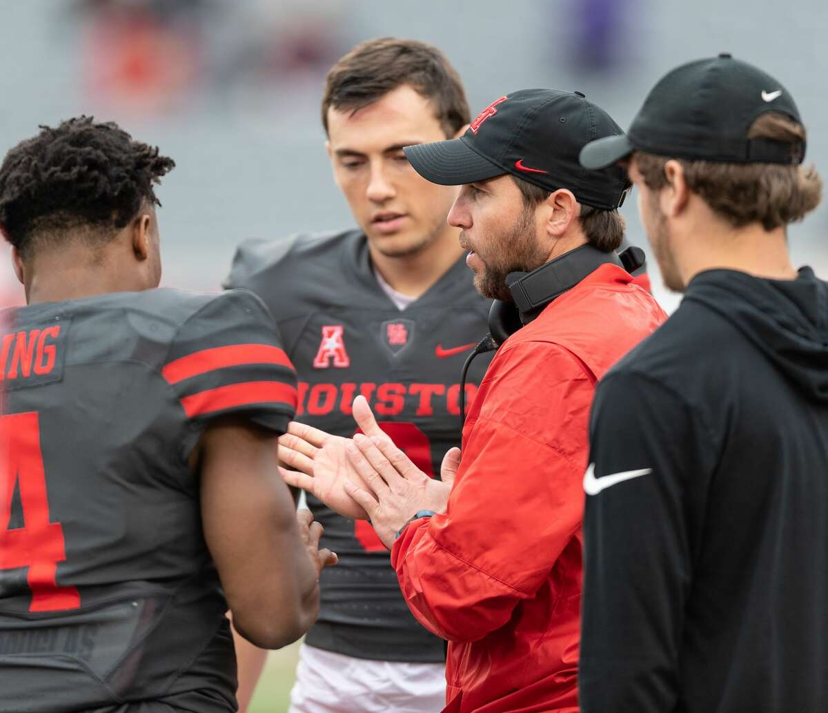 Houston Cougars Offensive Coordinator, Kendal Briles talks to his quarterbacks at halftime in a University of Houston spring football game on Saturday, April 7, 2018 at TDECU Stadium in Houston Texas.