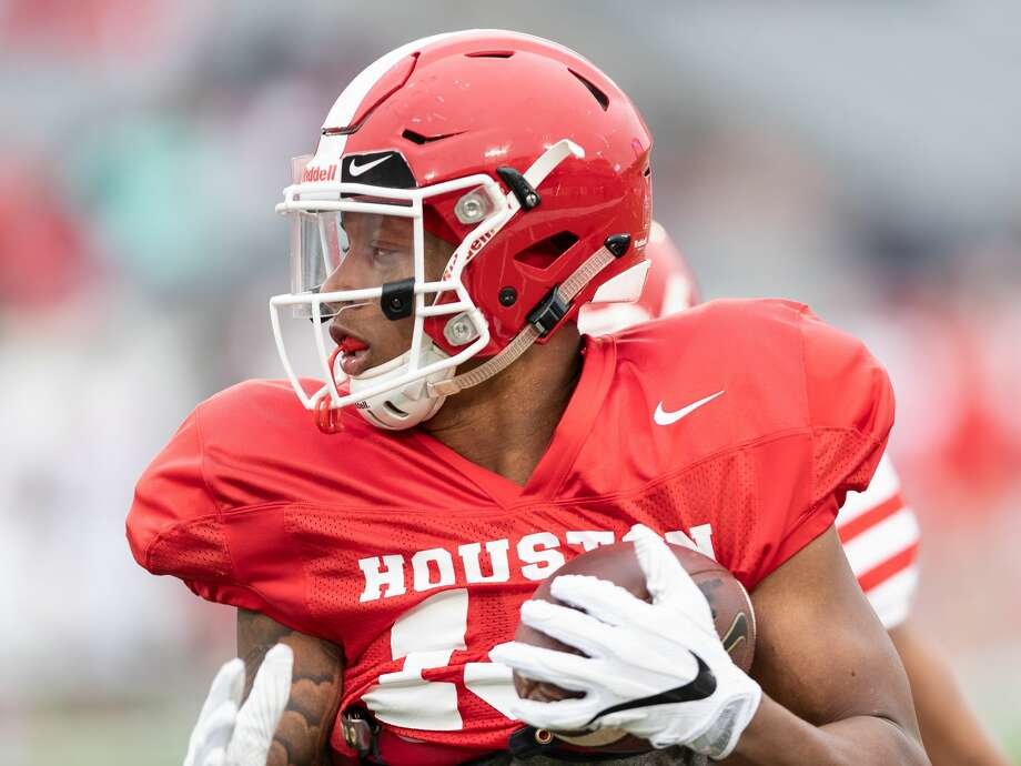 Keith Corbin (18) of the Houston Cougars runs for a short gain after a reception during a University of Houston spring football game on Saturday, April 7, 2018 at TDECU Stadium in Houston Texas. Photo: Wilf Thorne/For The Chronicle