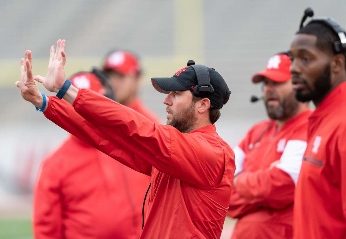 Houston Cougars Offensive Coordinator, Kendal Briles calls in plays to his offense during a University of Houston spring football game on Saturday, April 7, 2018 at TDECU Stadium in Houston Texas.