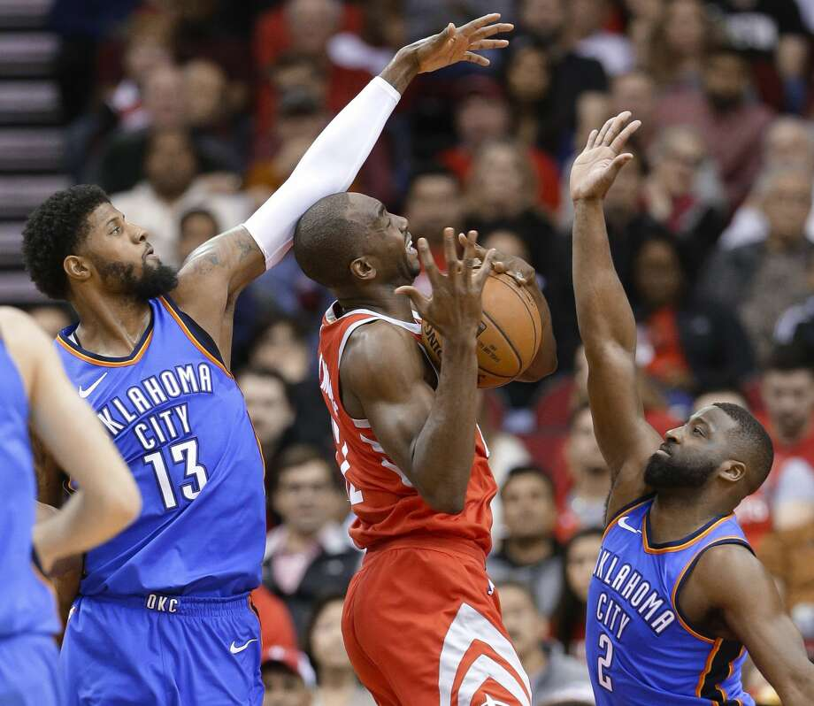 The Rockets will miss the contributions of Luc Mbah a Moute, particularly on the defensive end, when the NBA playoffs begin this weekend. Photo: Michael Wyke/Associated Press