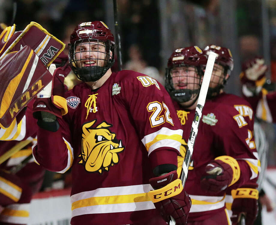 Minnesota Duluth players celebrate a goal by center Jared Thomas (22) against Notre Dame in the first period during an NCAA Frozen Four championship college hockey game, Saturday, April 7, 2018,in St. Paul, Minn.. (AP Photo/Andy Clayton-King) Photo: Andy Clayton-King / FR51399 AP