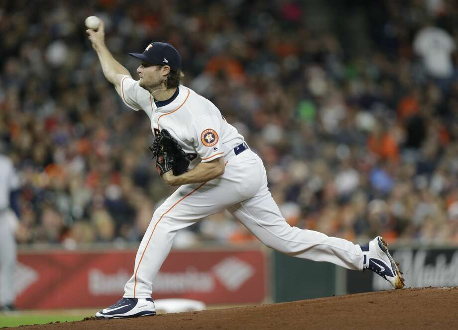 Houston Astros Gerrit Cole pitches against the San Diego Padres during the first inning of MLB game at Minute Maid Park Saturday, April 7, 2018, in Houston. ( Melissa Phillip / Houston Chronicle ) Photo: Melissa Phillip/Houston Chronicle